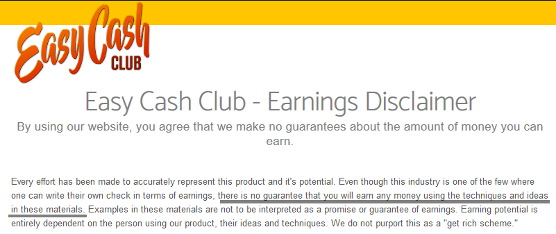 Easy Cash Club Review - Disclaimer