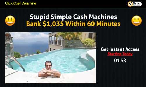 Is Click Cash Machine a Scam - Landing Page