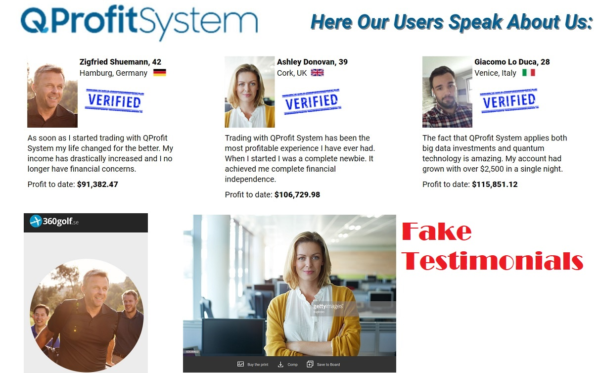 Is Q Profit System a Scam - Fake Testimonials