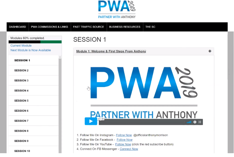 Partner With Anthony - Members Area