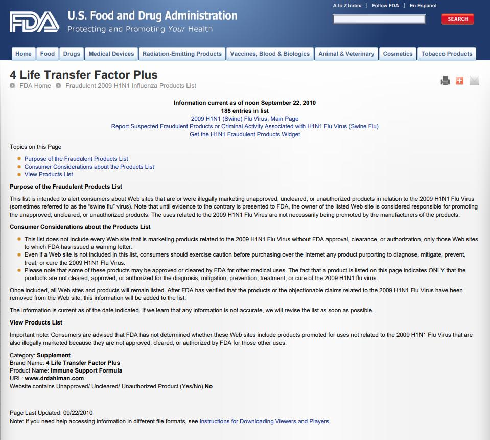 4Life Review - FDA Warning