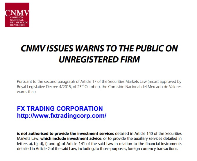 Fx Trading Corp Review - CNMV Warning
