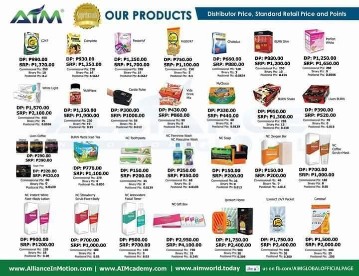 Is AIM Global a Scam - Product Lines