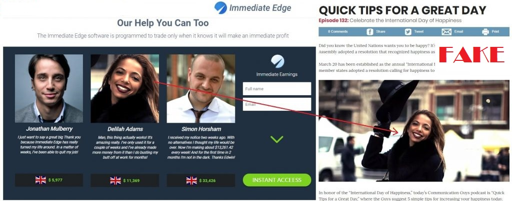 Is Immediate Edge a Scam - Fake Testimonials