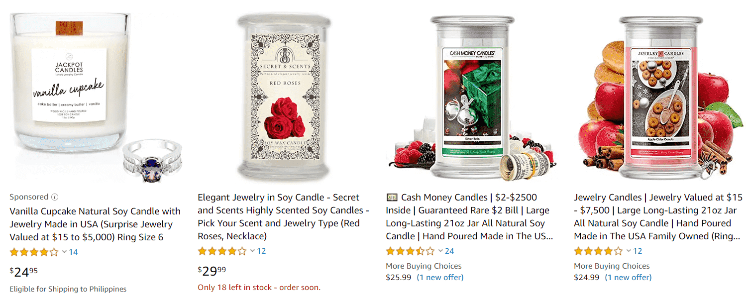 Is Jewelry in Candles a Scam - Other Competitor Candles