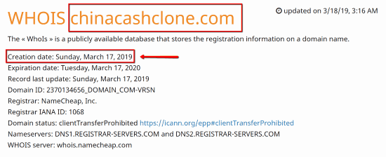China Cash Clone Review - WhoIs Info