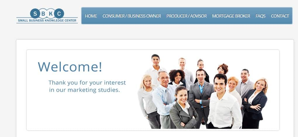 Small Business Knowledge Center Review - Landing Page