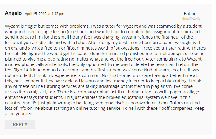Wyzant Review - Negative Review About The Students