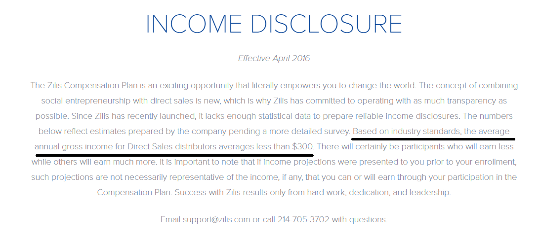 Zilis Review - Income Disclosure