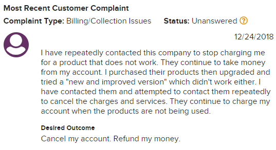Is Asirvia a Scam - Complaint about getting charged