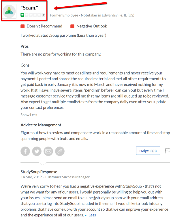 Is StudySoup a Scam - Negative feedback about not getting paid