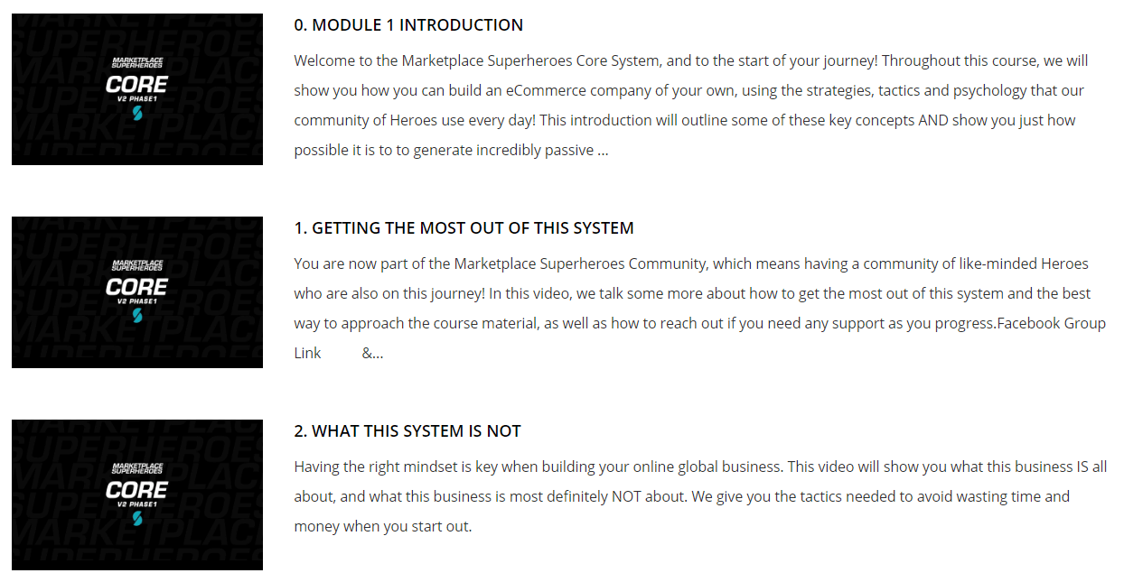 Is Marketplace Superheroes a Scam - Lessons In Members Area