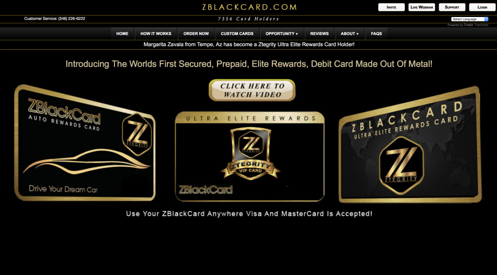 Is ZBlackCard a Scam - Landing Page