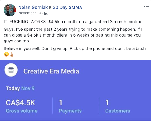 Is 30 Day SMMA a Scam - Positive Feedback