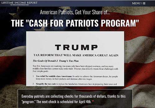 Is Cash for Patriots a Scam - Landing Page