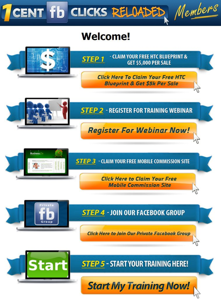 1 Cent FB Clicks Review - Welcome Page