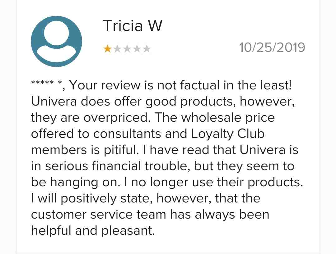 Is Univera a Scam - Negative Product Review from BBB 2