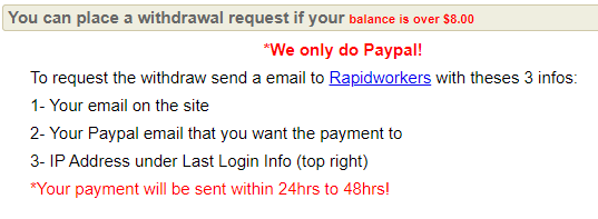 Rapidworker Review - Payout Options