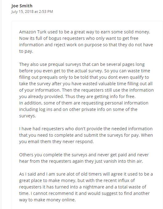 Amazon Mechanical Turk Review - Comment About Not Paying Clients