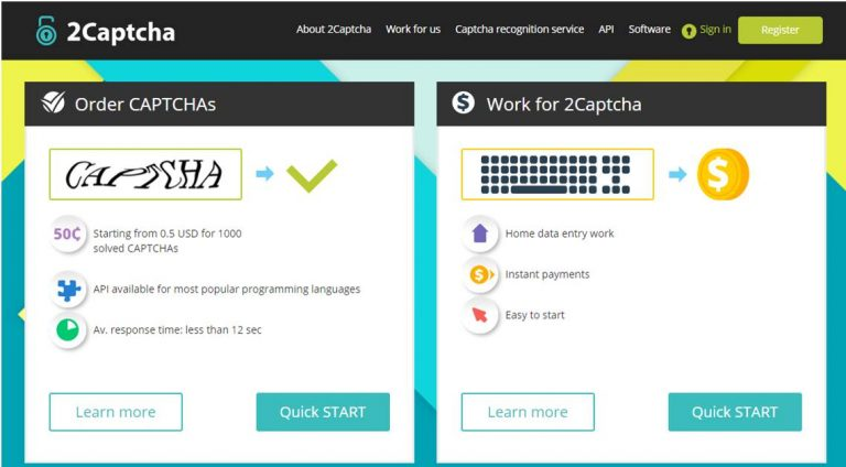 Is 2Captcha a Scam - Landing Page