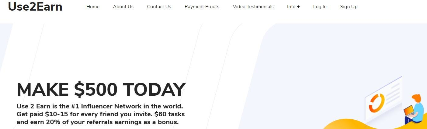 What Is Use2Earn - Landing Page