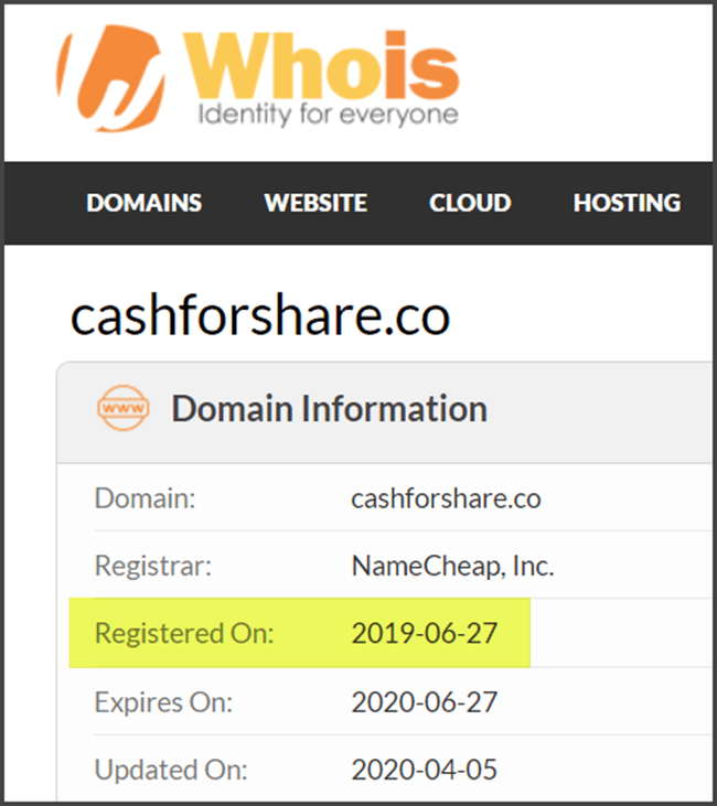 What Is CashForShare - Domain WhoIs