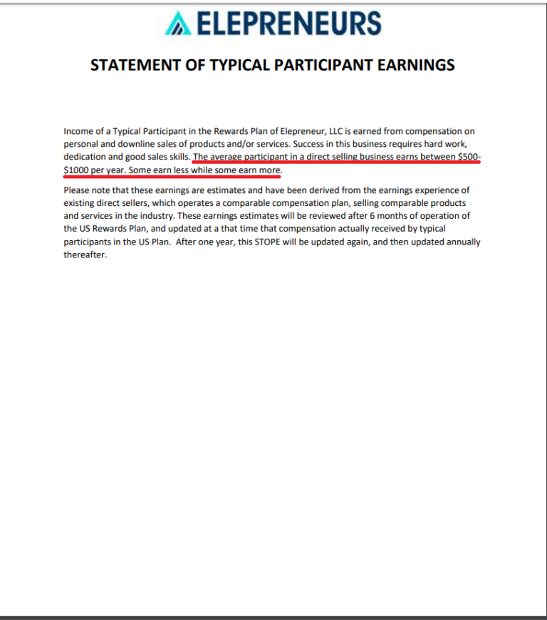 Is Elepreneurs a Scam - Statement of Typical Participant Earnings