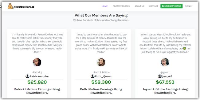 What Is RewardDollars - Fake Testimonials