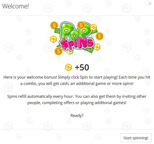 What Is Pop Spins - Welcome Bonus