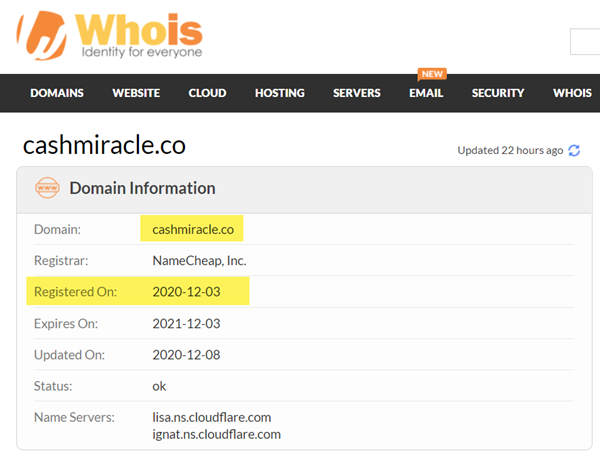 What Is CashMiracle - WhoIs Info